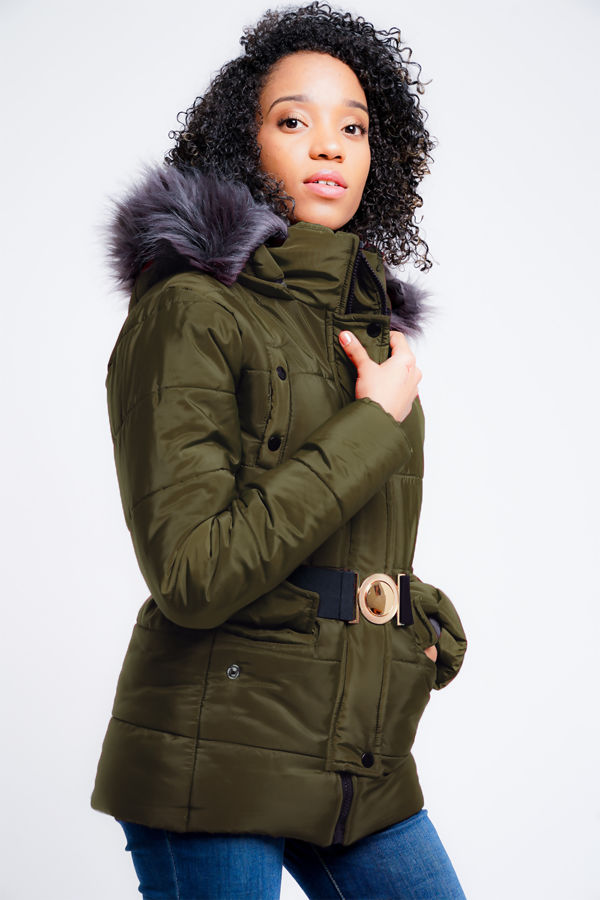 Olive Belted Jacket With Detachable Faux Hood