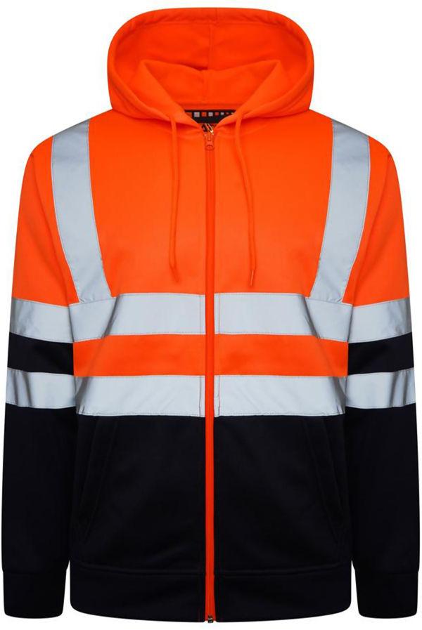 Orange Hi Vis Double Tone Fleece Zip Jacket