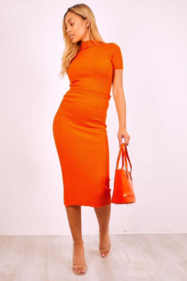 Orange Knit Crop Top And Skirt Co-ord Set