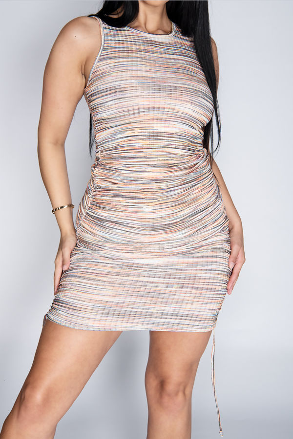 Orange Multi Ribbed Ruched Bodycon Dress