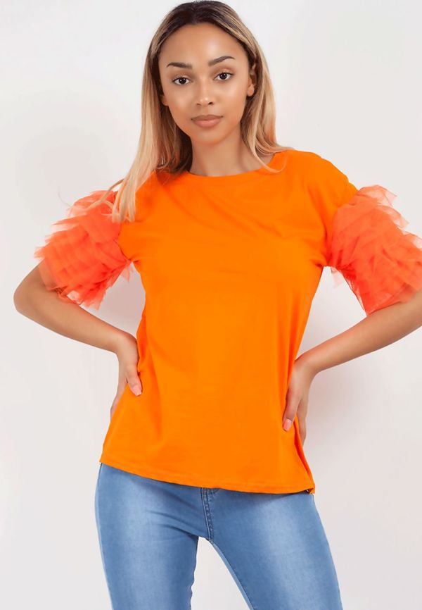 Orange Tulle Sleeve Tee