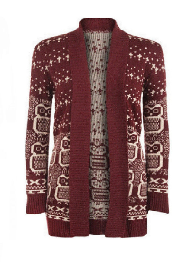 Owl Print Knitted Open Cardigan