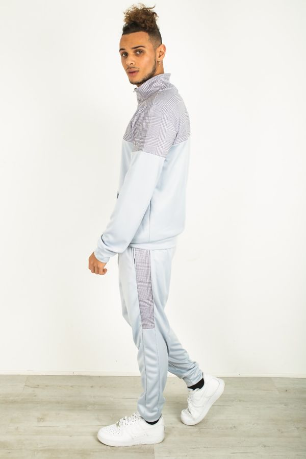 Pale Grey Checked Panel Collared Tracksuit