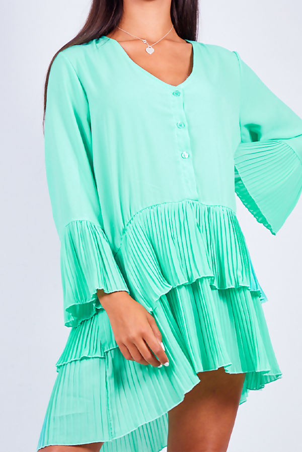 Pastel Green Pleated Smock Hem Dress