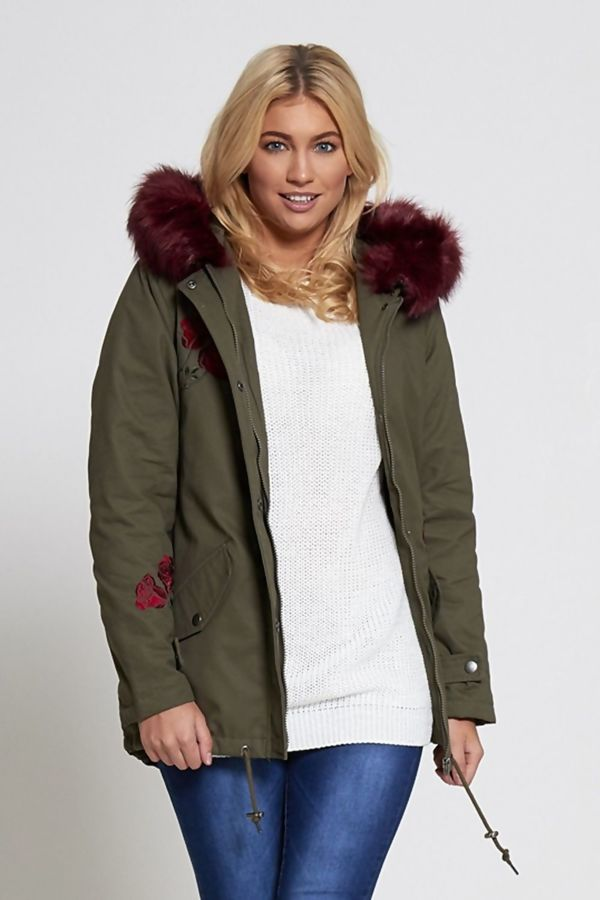Patch Khaki Parka Coat