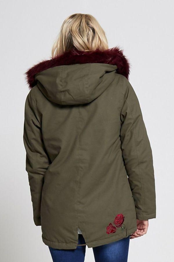 Patch Khaki Parka Coat