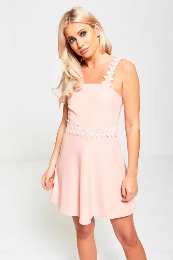 Peach Crochet Strap Skater Dress