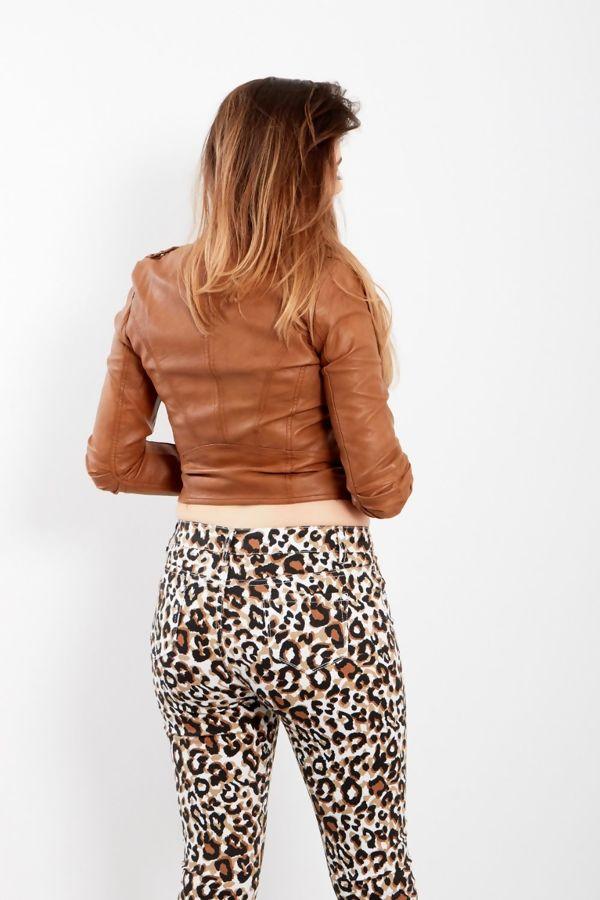 Peach Leather Biker Jacket