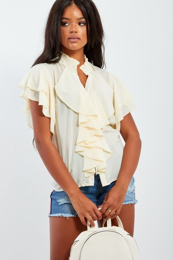 Peach Ruffle Blouse