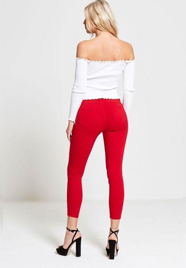 Pearl Embellished Skinny Fit Jeans