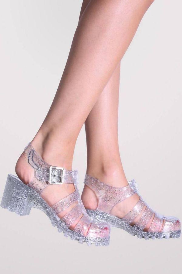 Perspex Glitter Buckle Sandal