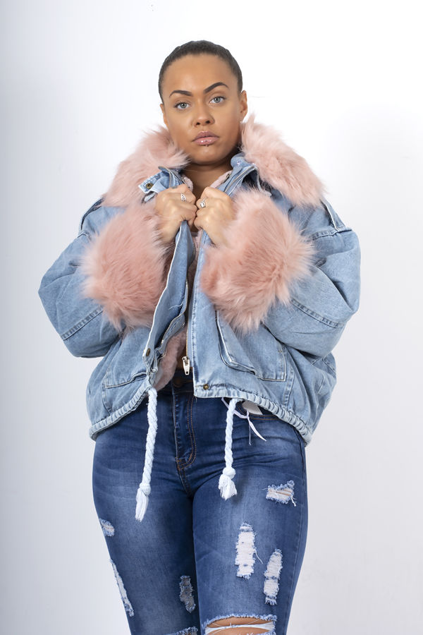 Pink Detachable Faux Fur Denim Jacket