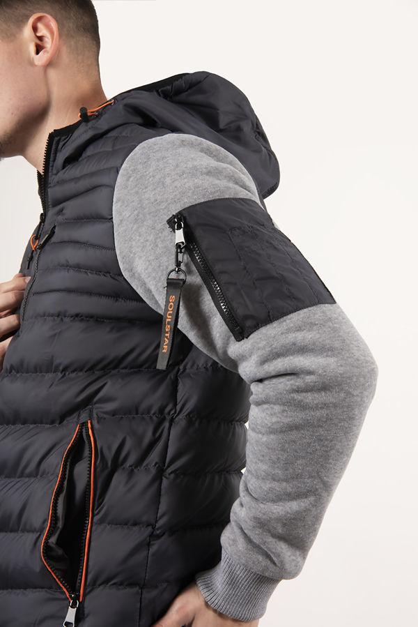 Blue Fleece Sleeve Puffer Jacket
