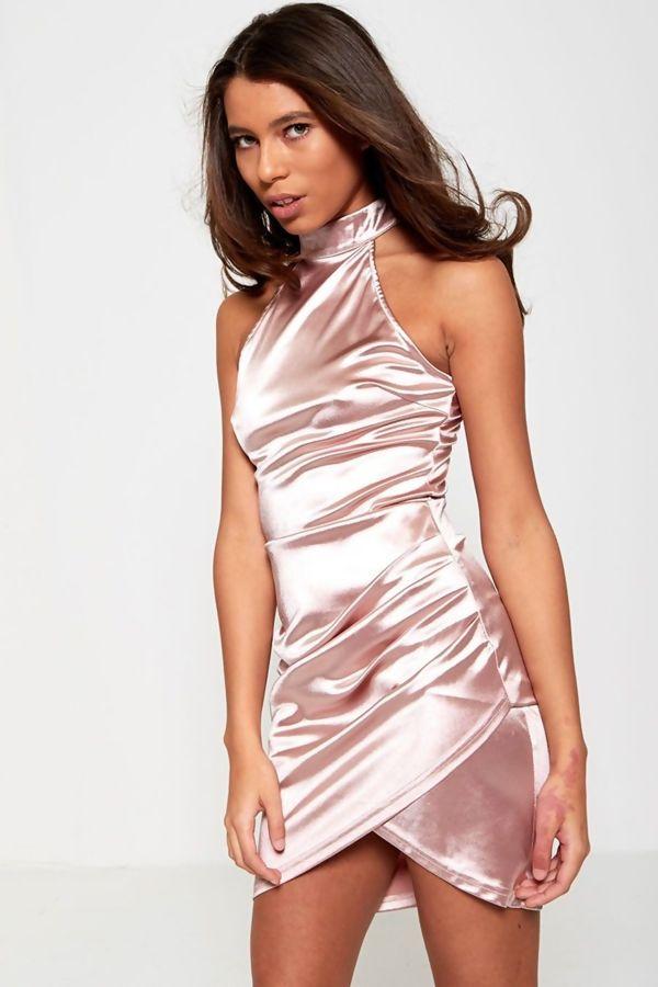 Pink AX Paris High Neck Satin Mini Dress