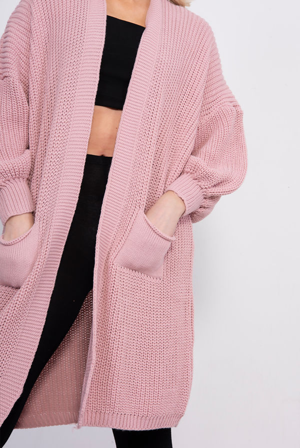 Pink Balloon Sleeve Pocket Front Knitted Cardigan