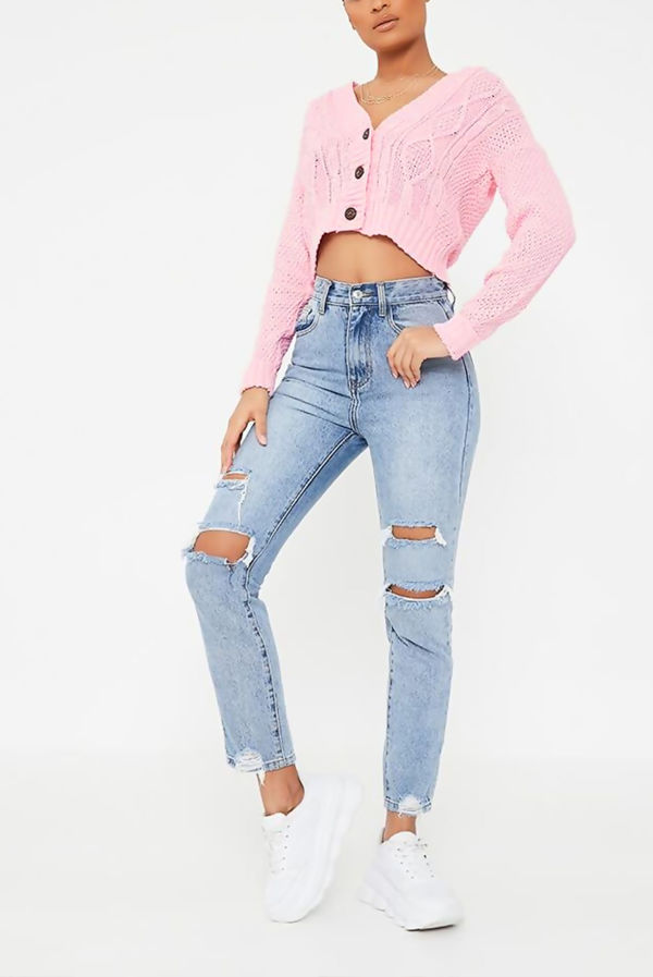Pink Cable Cropped Button Up Cardigan
