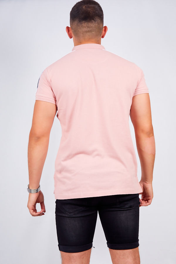 Pink Contrast Stripe Detail Polo Shirt