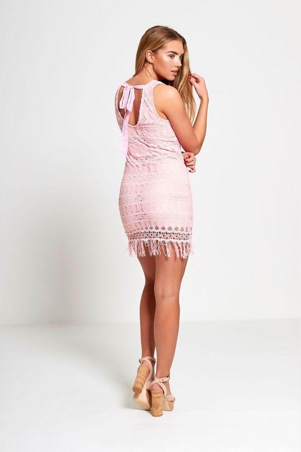 Pink Crochet Lace Tassel Hem Mini Dress