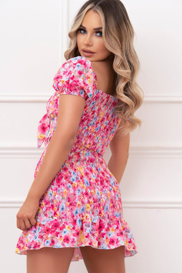 Pink Ditsy Floral Knot Front Shirred Dress