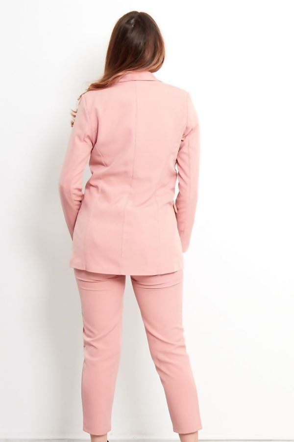Pink Double Breasted Longline Blazer and Trouser Co-ord Set