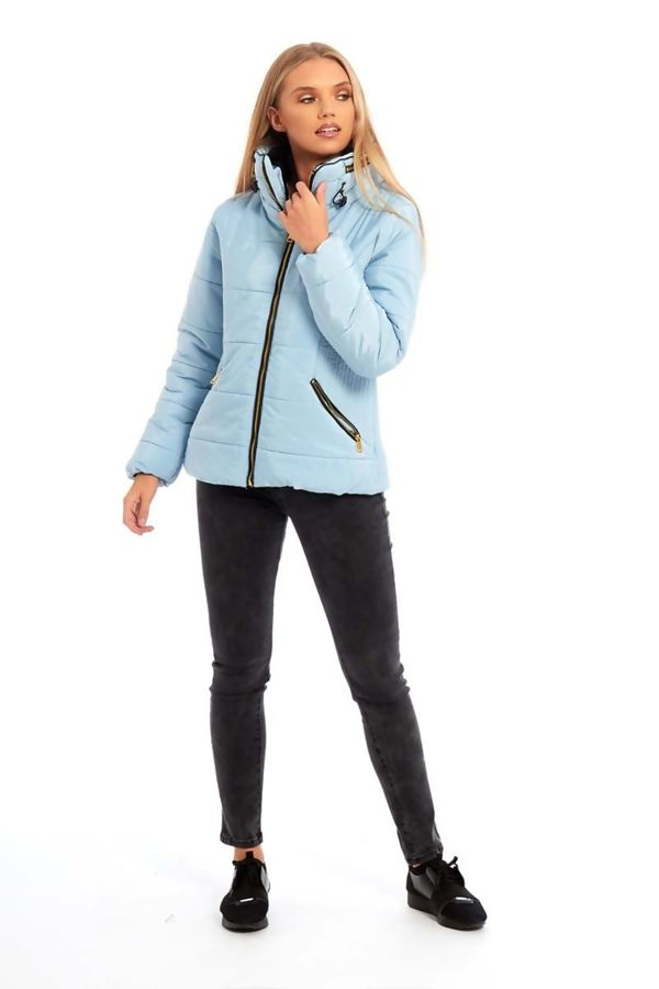 Pink High Neck Padded Puffer Quilted Jacket