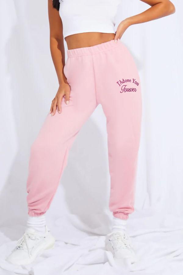 Pink JAdore You Slogan Cuffed Hem Joggers