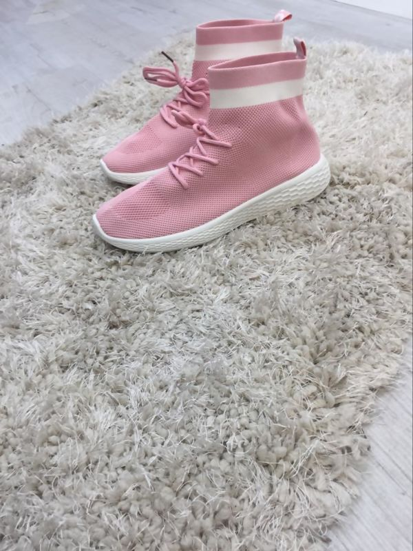 Pink Lace Up Sock Trainers