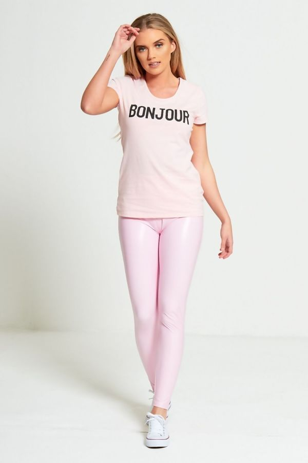 Pink Leather Look High Waist Leggings