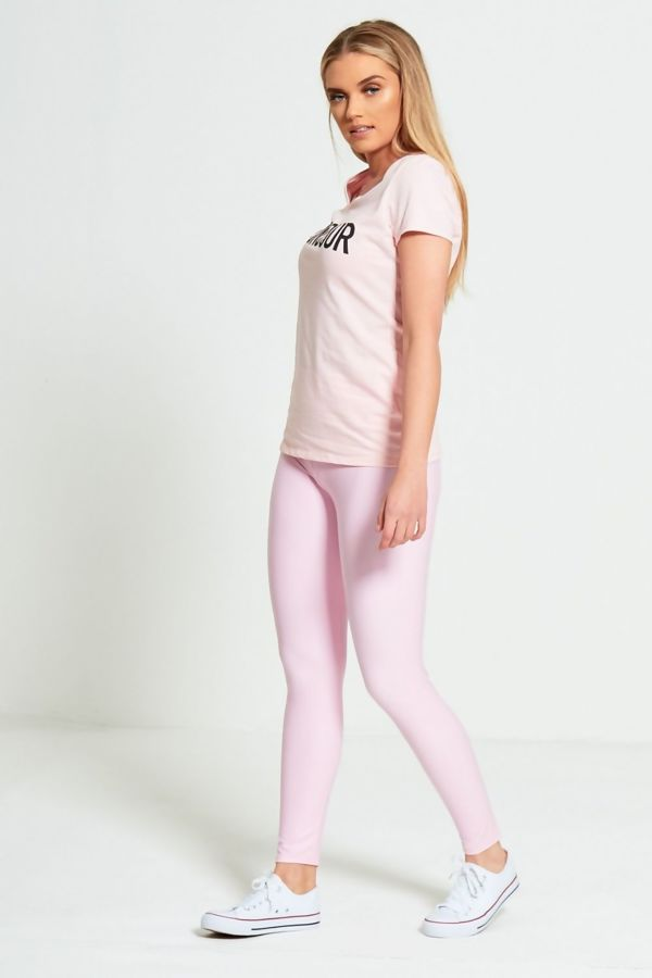 Pink Leather Look High Waist Leggings