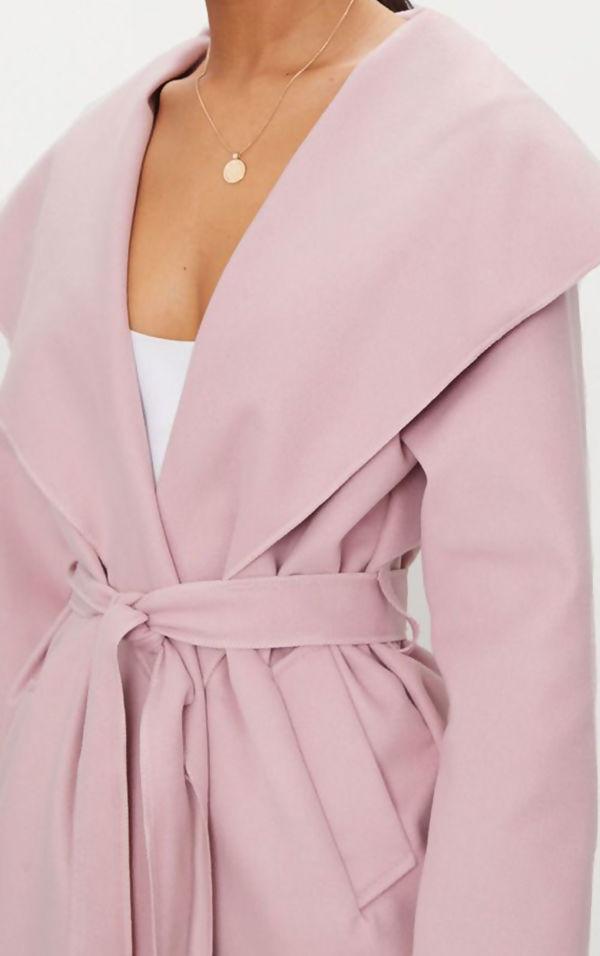 Pink Long Waterfall Duster Coat