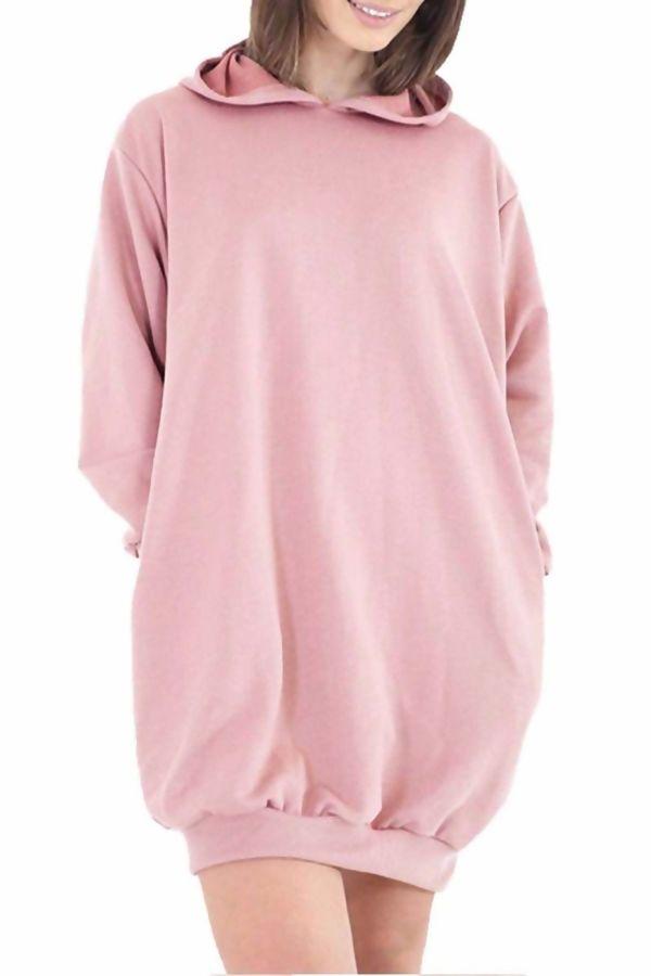 Pink Oversized Baggy Pocket Sweat Hood Dress