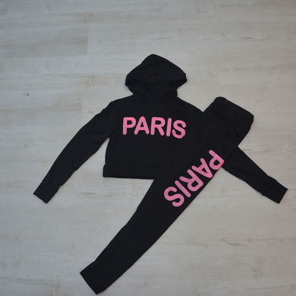 Pink Paris Slogan Hooded Tracksuit