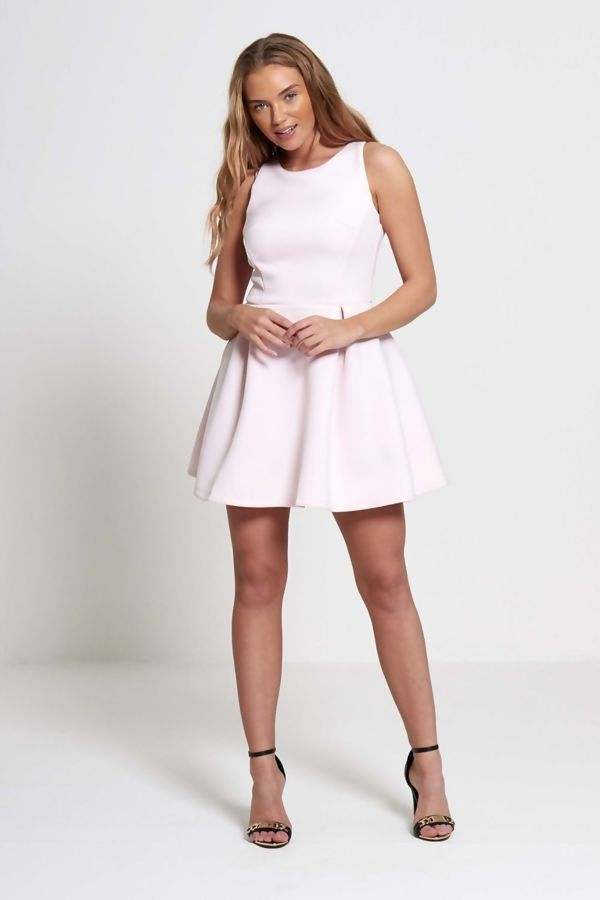 Pink Pleated Skirt Mini Dress