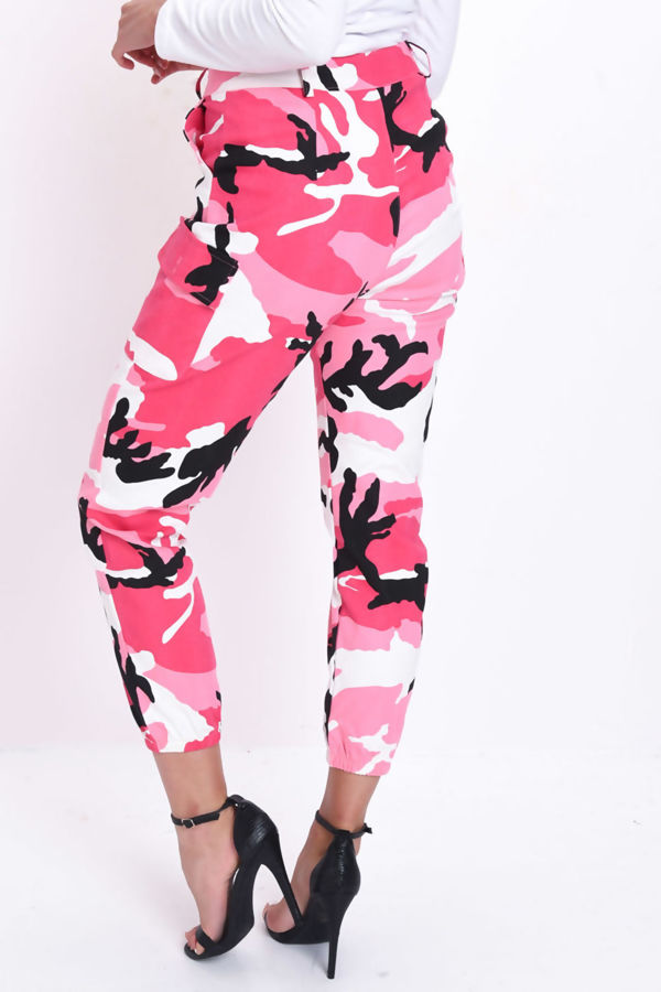 Pink Pocket Detail Camo Trousers