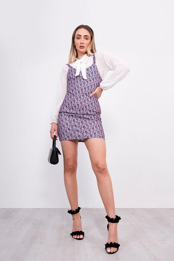 Pink Printed Pinafore Blouse Mini Dress