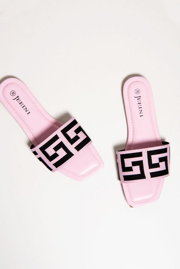 Pink Printed Strap Flat Sliders