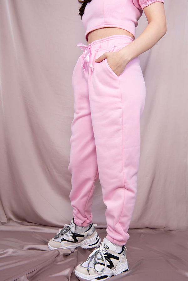 Pink Puff Sleeve Cropped Top And Jogger Lounge Set