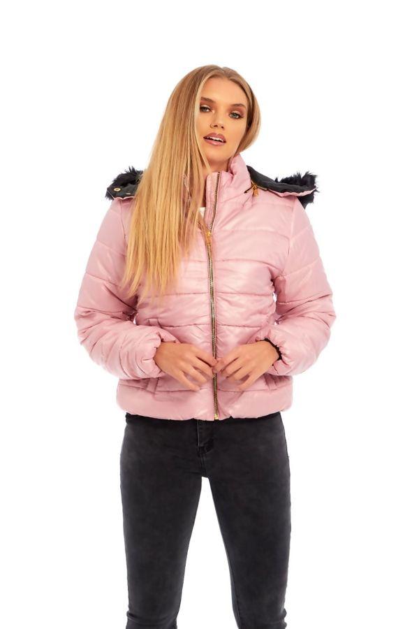 Pink Puffer Fur Hood Jacket