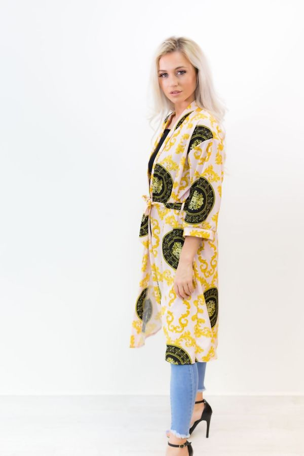 Pink Scarf Printed Kimono Cardigan