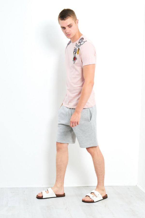 Pink Shoulder Patch T-Shirt
