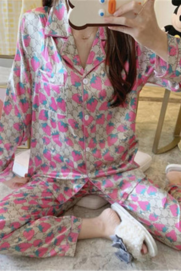 Pink Strawberry Printed Long Sleeve Satin PJ Set