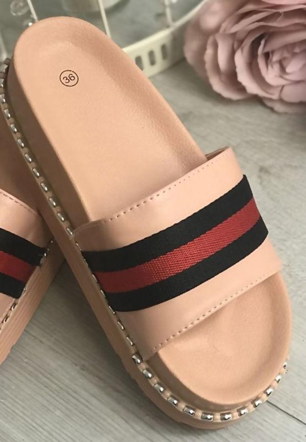 Pink Studded Sole Flatform Sliders