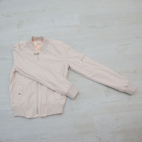 Pink Suede Zip Up Bomber Jacket