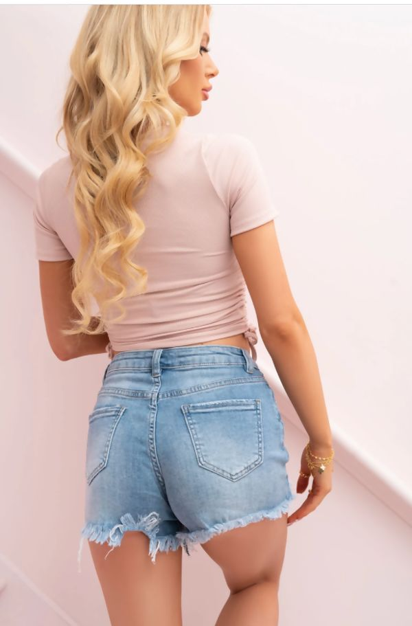 Blush Cut Out Front Ruched Ribbed Top
