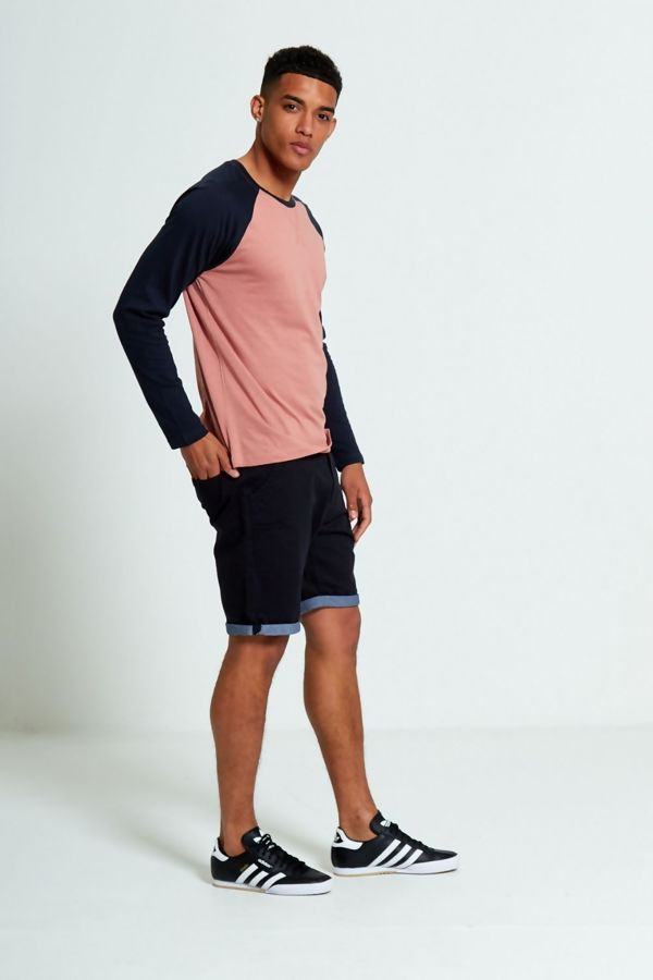 Pink Two-Tone Raglan Long Sleeve T-Shirt