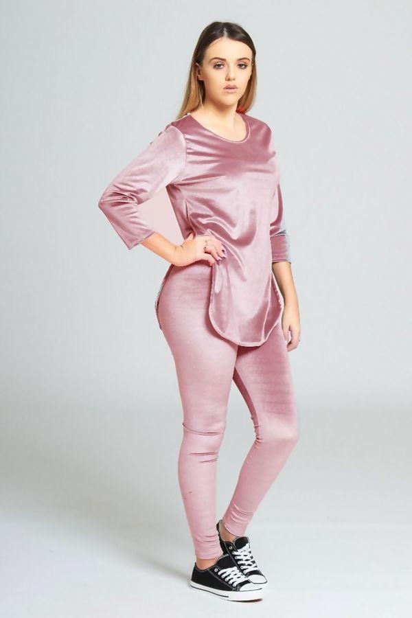 Pink Velvet Look Loungewear Set