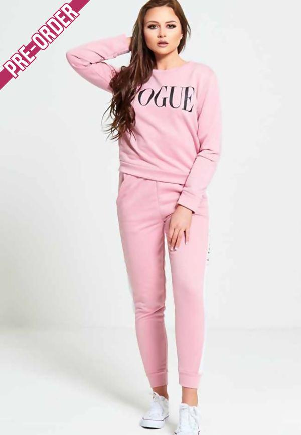 Pink VOGUE Print Tracksuit