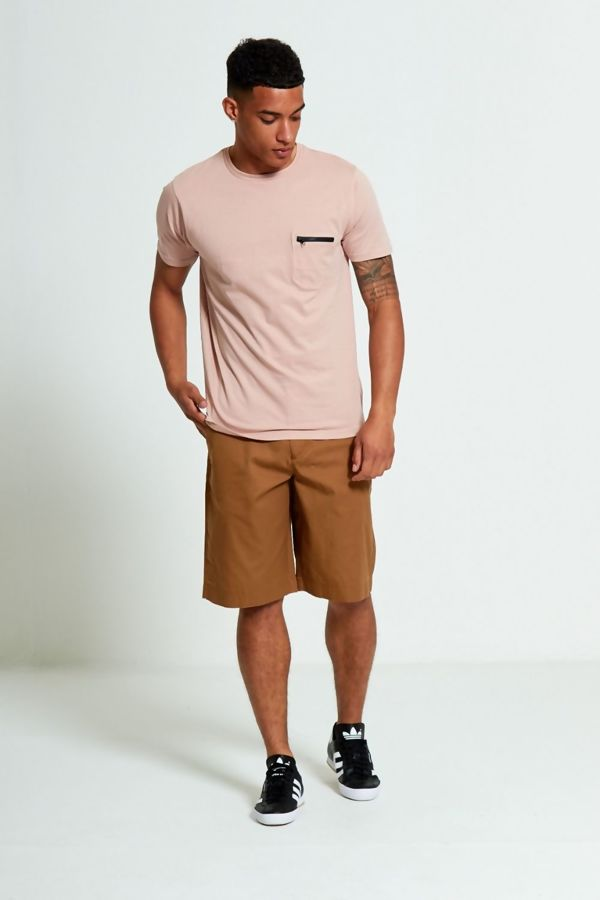 Pink Zip Detail Chest Pocket T-Shirt