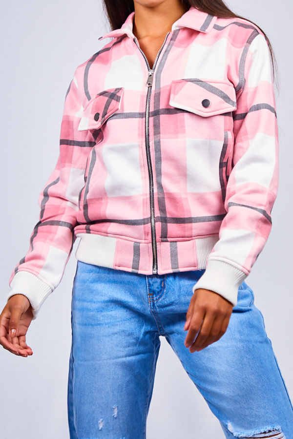 Pink Zip Front Checked Bomber Jacket