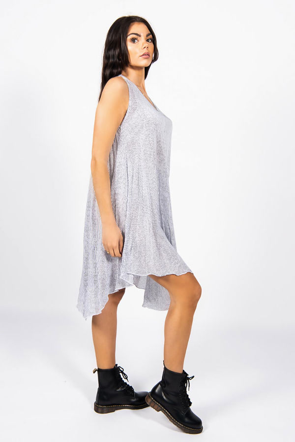 Pinstripe Sleeveless Smock Dress
